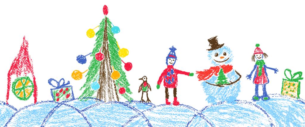 Teckning av barn med snögubbe, julgran och barn